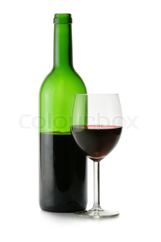 Bottle and glass of red wine isolated over white for Red glass wine bottles suppliers