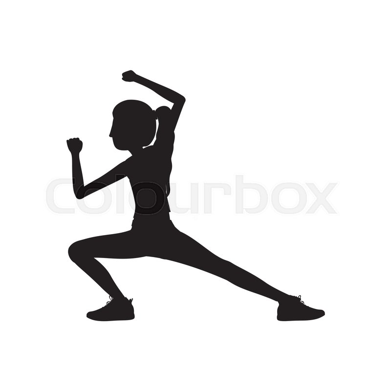 Silhouette woman martial arts kick down vector illustration, vector