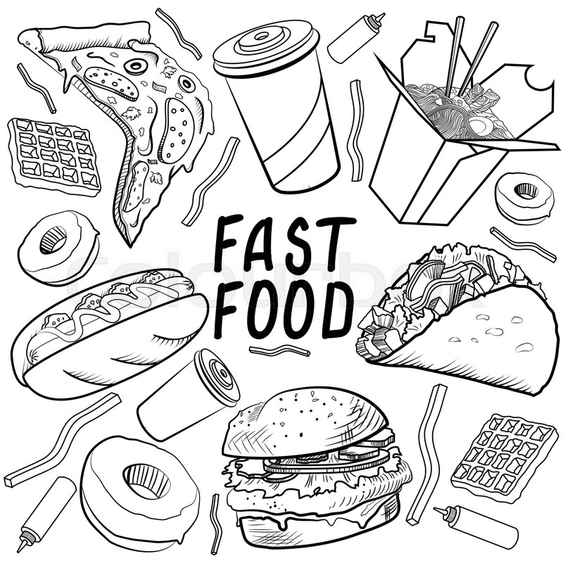 fast food set on a white background stock vector