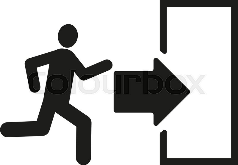 the exit icon emergency exit symbol flat vector illustration