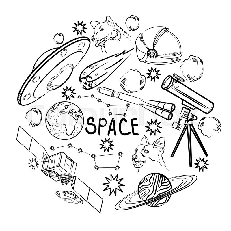 Set Of Space Elements Astronaut