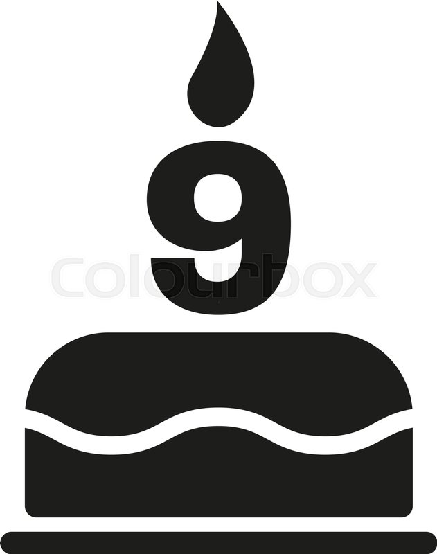 The Birthday Cake With Candles In The Form Of Number 9 Icon