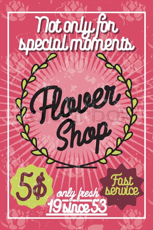 color vintage flower shop poster  template design element
