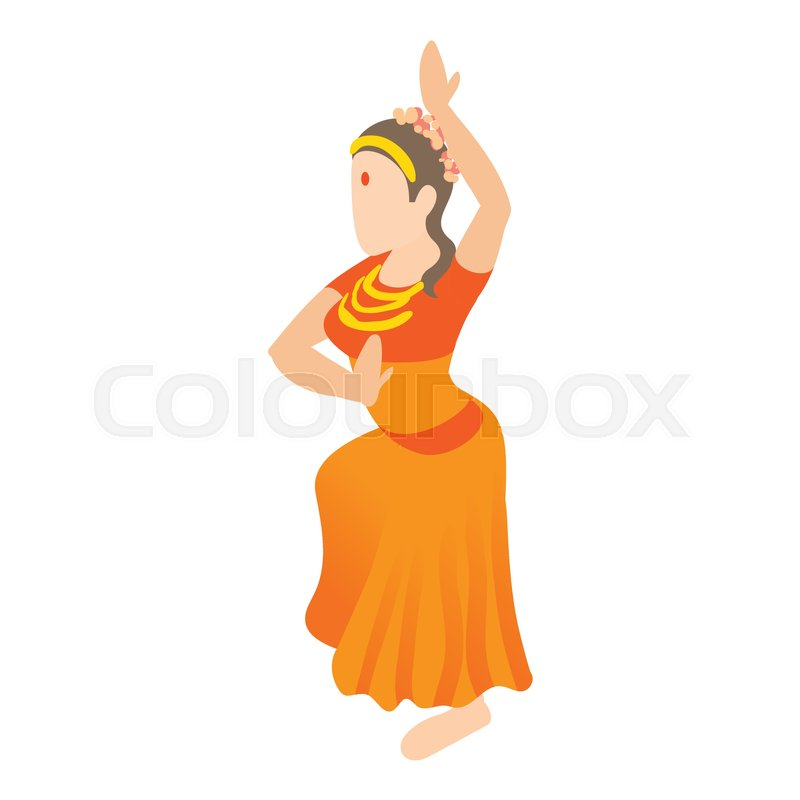 Indian Girl Dancing Icon In Cartoon Style Isolated On White