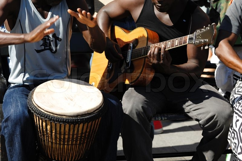 A street band is playing music, stock photo