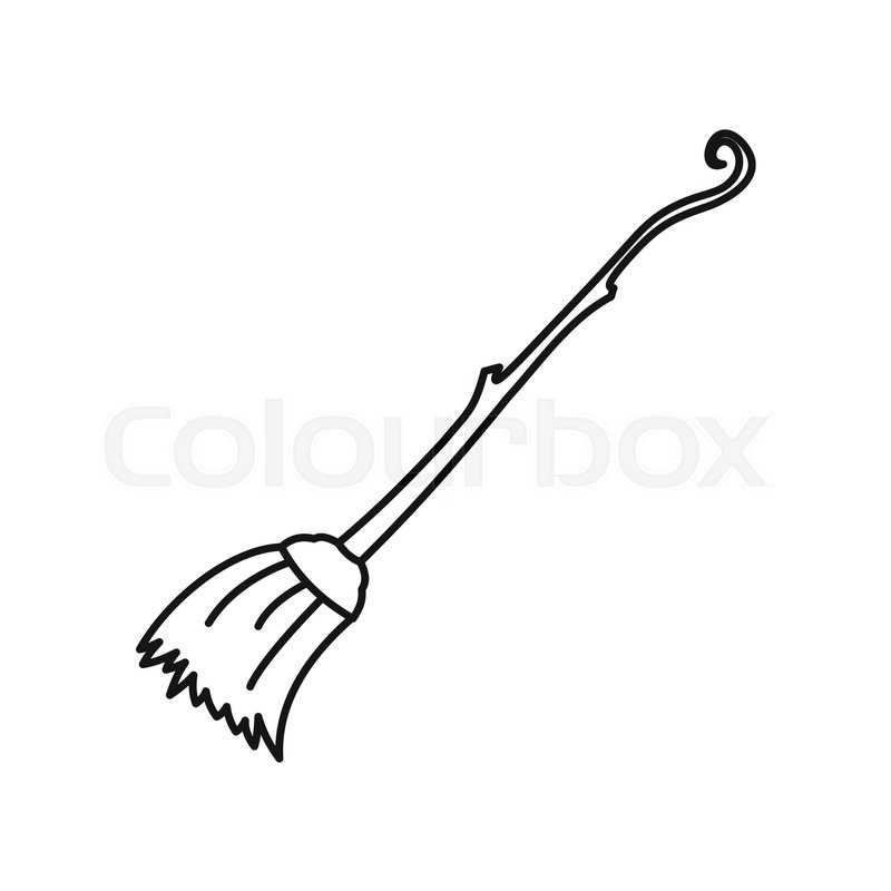 Witch Broom Icon In Outline Style Isolated On White Background