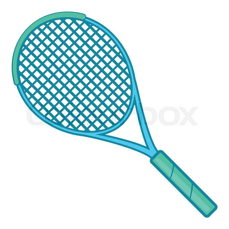 Tennis Racket Icon In Cartoon Style Stock Vector Colourbox