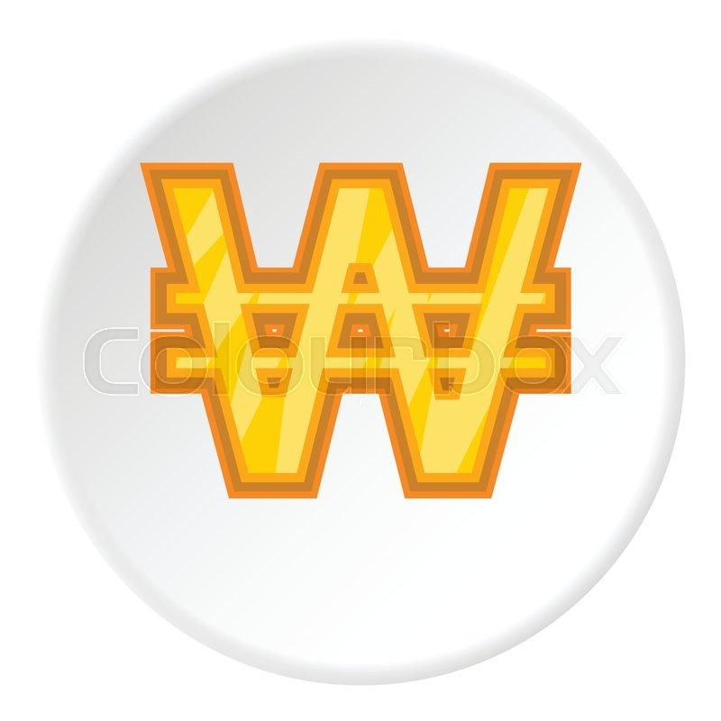 Sign Of Money Won Icon In Cartoon Style On White Circle Background