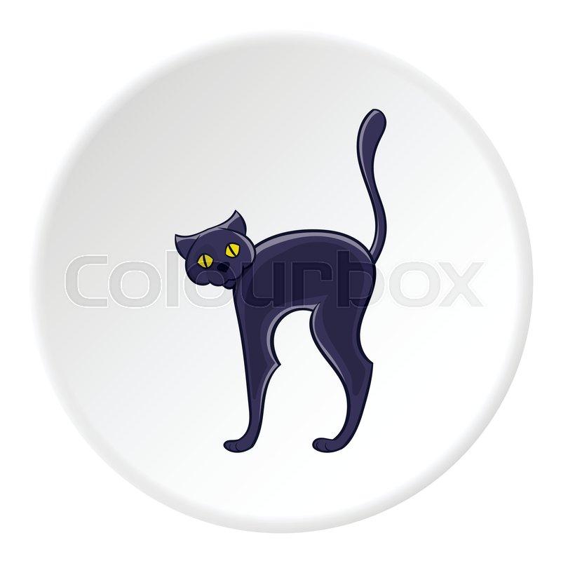 Black Cat Icon In Cartoon Style On White Circle Background Animal