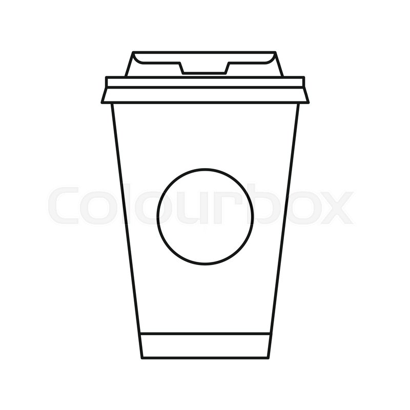 Take Away Coffee Cup Icon In Outline Style Isolated On