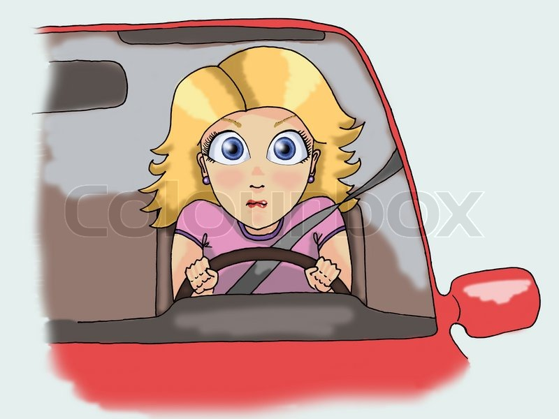 Illustration of a scared young blonde woman driving ...