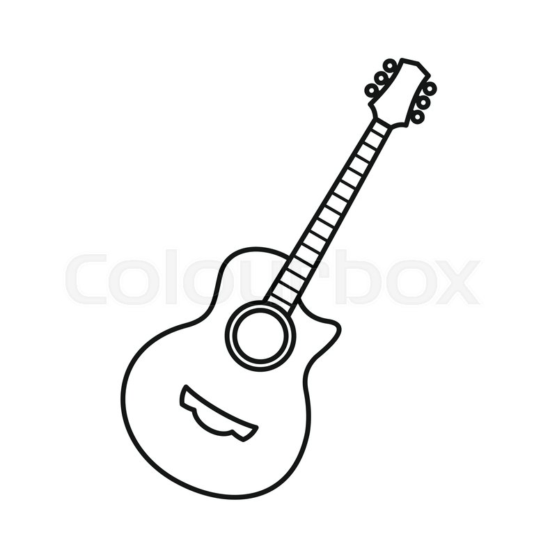 Acoustic guitar drawing outline