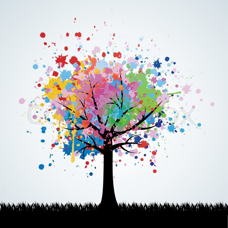 Abstract Colorful Tree Vector Background Stock