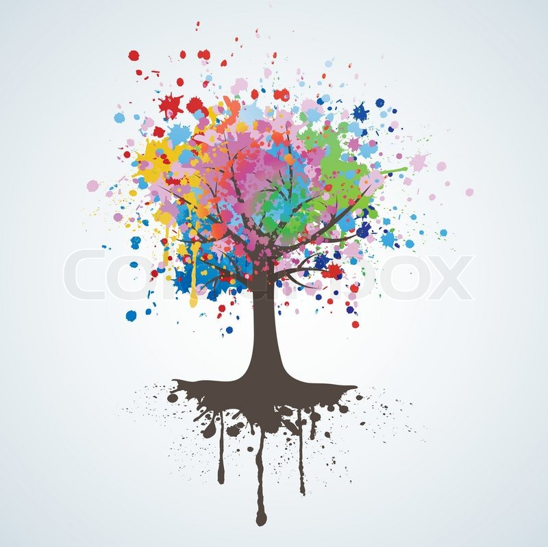 Abstract colorful tree vector background stock vector - Family tree desktop wallpaper ...