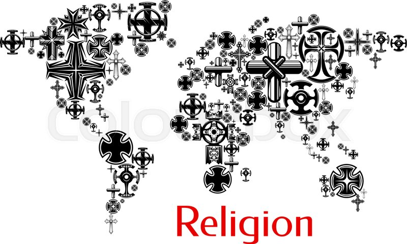 Religion world map with christianity ... | Stock Vector | Colourbox