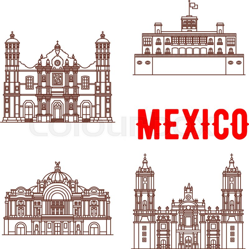 Mexican Architecture Vector Icons Our Lady Of Guadalupe Basilica Chapultepec Castle Mexico Palace Fine Arts Metropolitan Cathedral