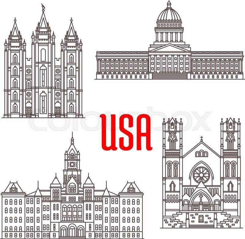 Famous buildings symbols and icons of US Salt Lake Temple Utah