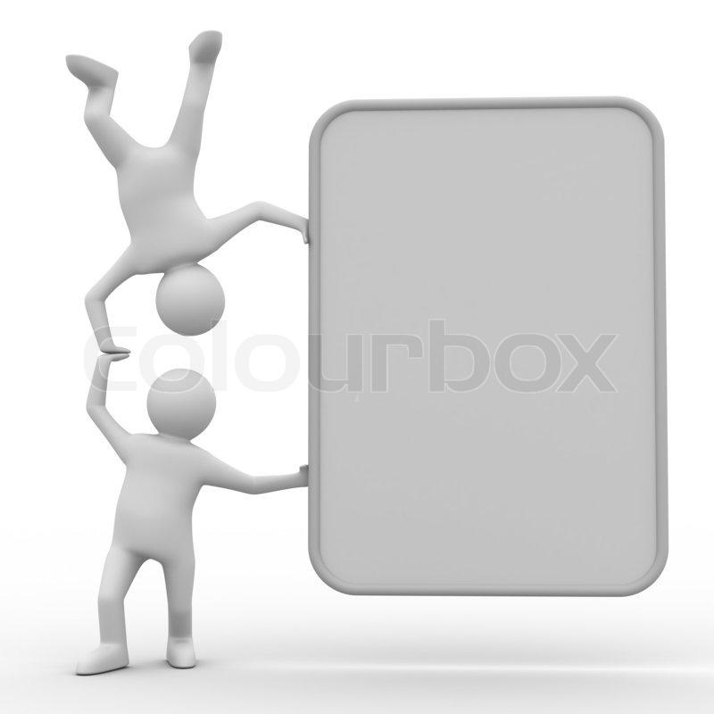 zwei mann h lt das plakat in der hand stockfoto colourbox. Black Bedroom Furniture Sets. Home Design Ideas