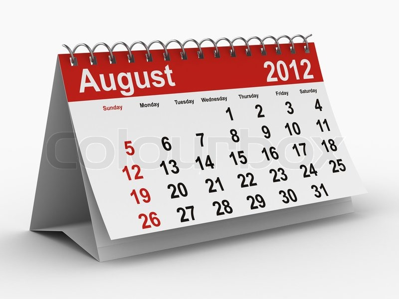 2012 Year Calendar August Isolated 3d Image Stock Photo Colourbox