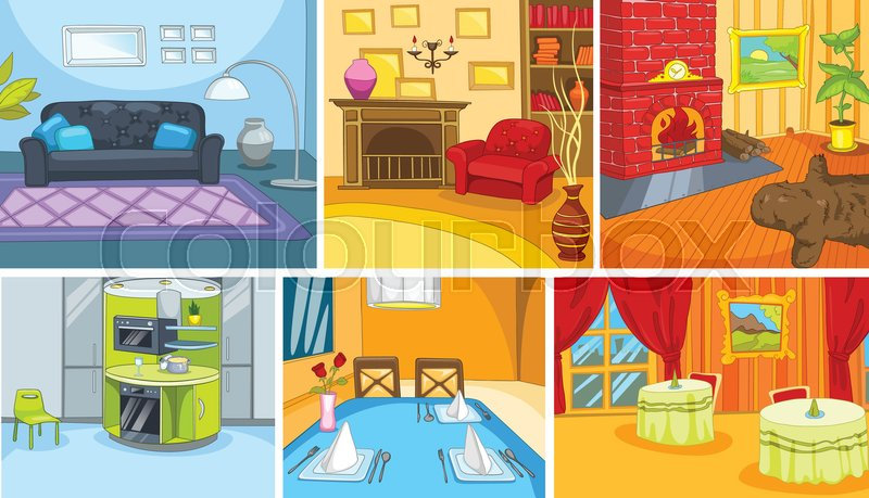 Hand drawn vector cartoon set of apartment and restaurant ...