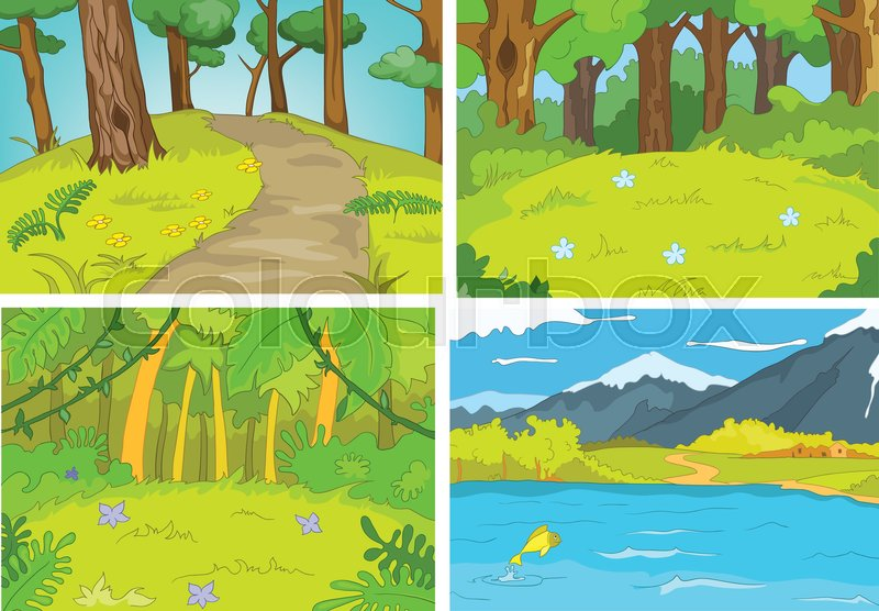 Hand drawn vector cartoon set of summer landscapes ...