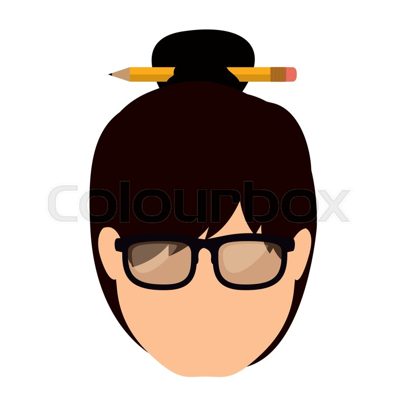 Front Face Woman With Collected Hair Vector Illustration Stock
