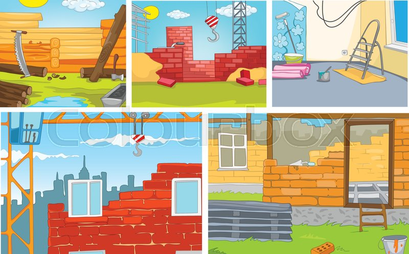 Hand Drawn Vector Cartoon Set Of Construction Site Colourful Cartoons Backgrounds Sites Background Building Urban And Rural