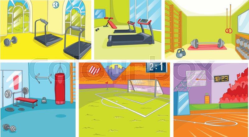 hand drawn cartoon set of sport infrastructure  cartoons