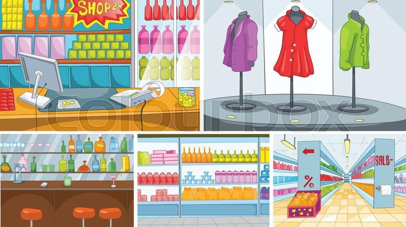Hand Drawn Vector Cartoon Set Of Interiors Of Shops And