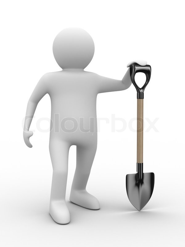 Stock image of 'Man with bucket and shovel on white background. Isolated 3D image'