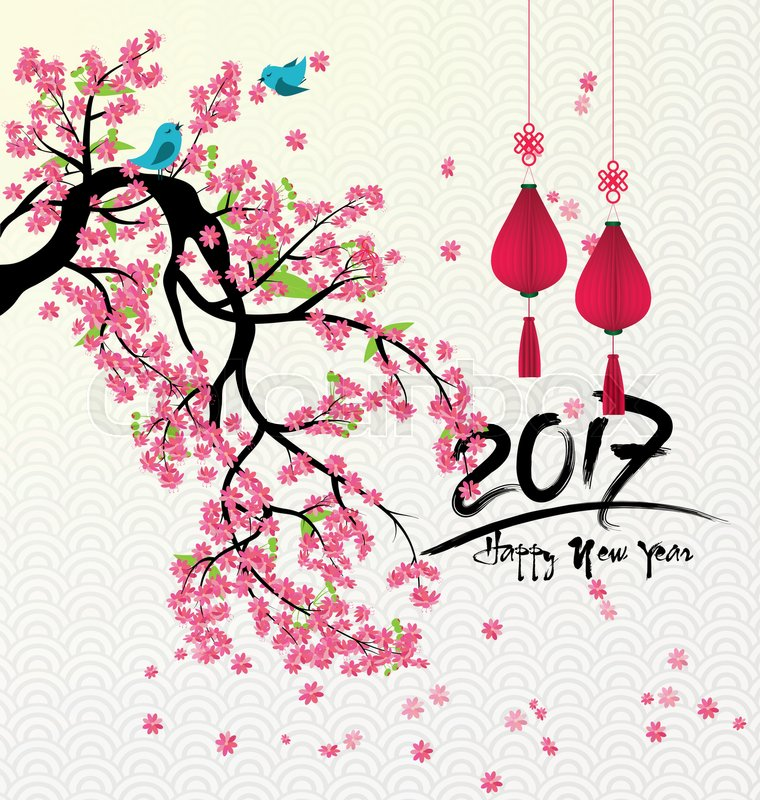 Happy new year 2017 and flowers | Stock Vector | Colourbox