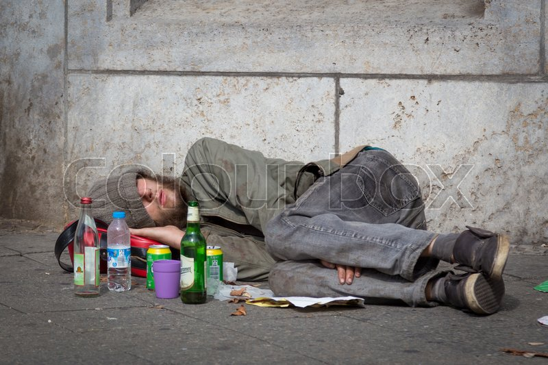 Berlin Germany Sept 18 Homeless Young Alcohol Addict