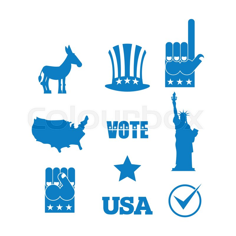 Democrat Donkey Election Icon Set Symbols Of Political Parties In