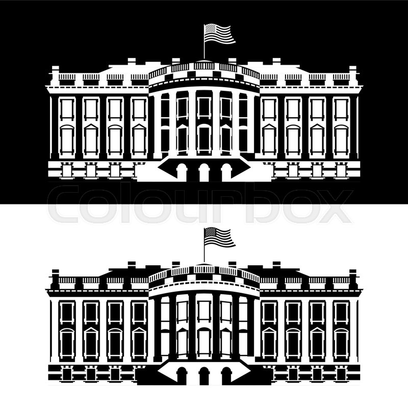 white house america black and white icon residence of president usa