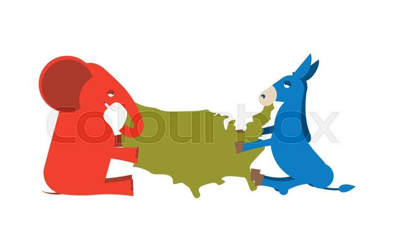 Elephant and Donkey divided map of America USA political party