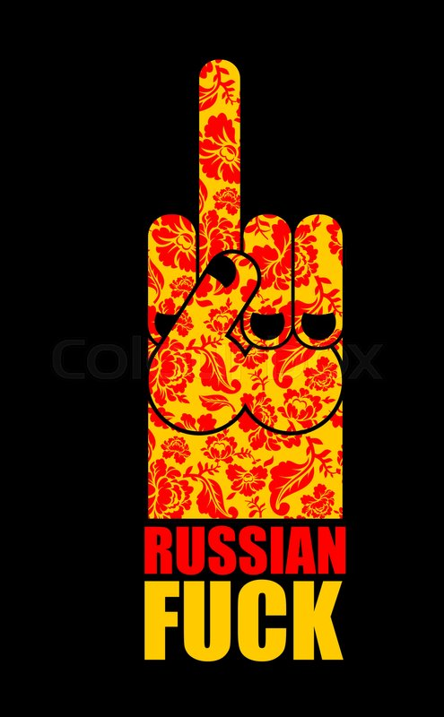 Russian Fuck Provocative Emblem Hand Shows Bully And Hooligan Sign