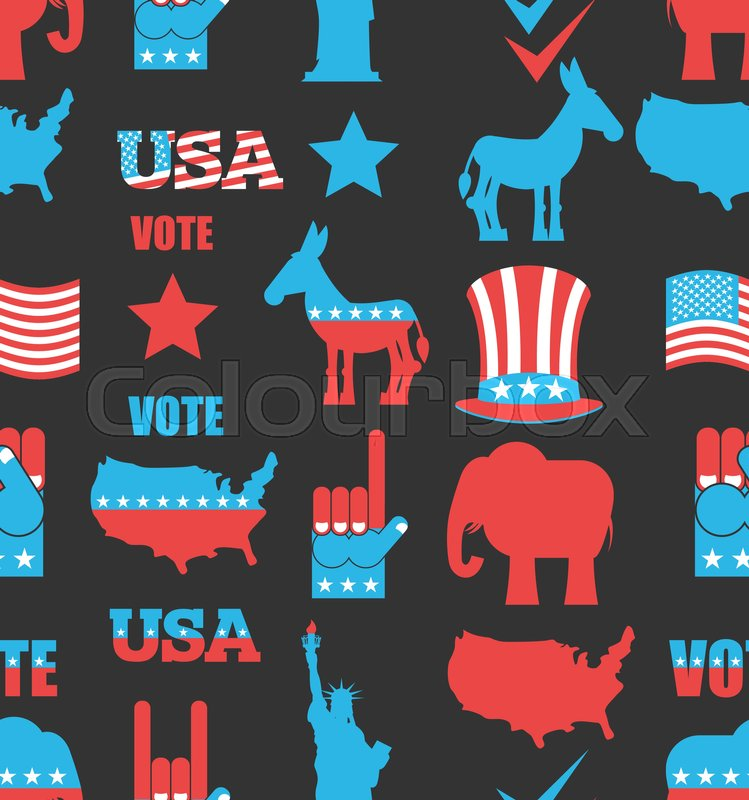 American Elections Seamless Pattern Republican Elephant And