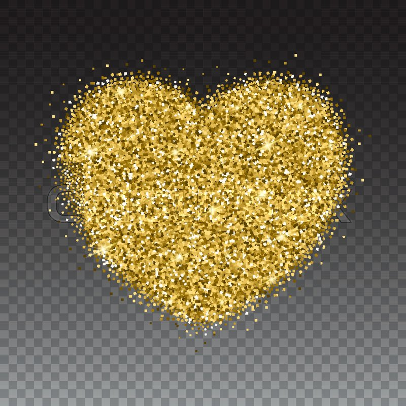 Icon of Heart with gold sparkles and glitter, glow light ...