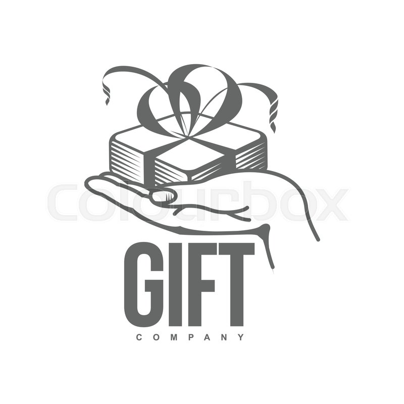 Black And White Graphic Line Art Gift Box Logo Templates Vector