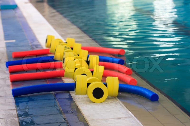 sports equipment for aqua aerobics in the pool stock photo colourbox