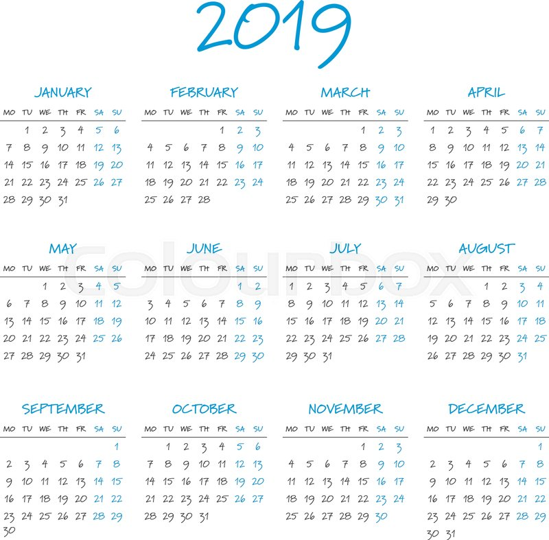 simple 2019 year calendar week starts on monday stock vector