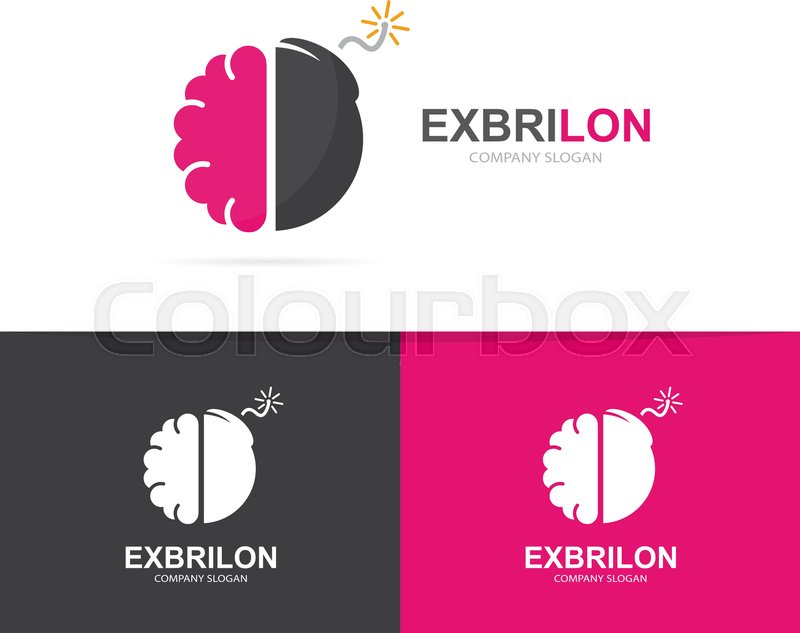 Vector Logo Combination Of A Brain And Bomb Brainstorm And Science