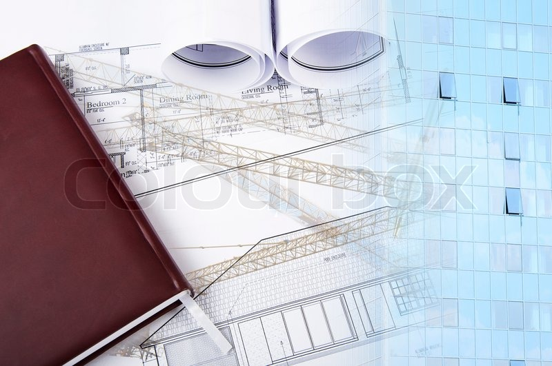 Office building and blueprint rolls, business collage, stock photo