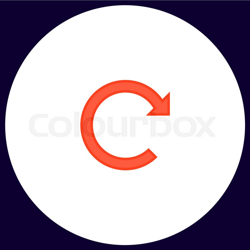 Rotation Arrow Simple Vector Button Illustration Symbol Color Flat