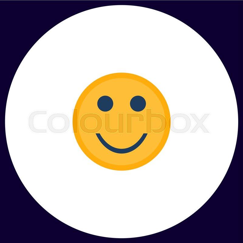 Happy Face Simple Vector Button Illustration Symbol Color Flat