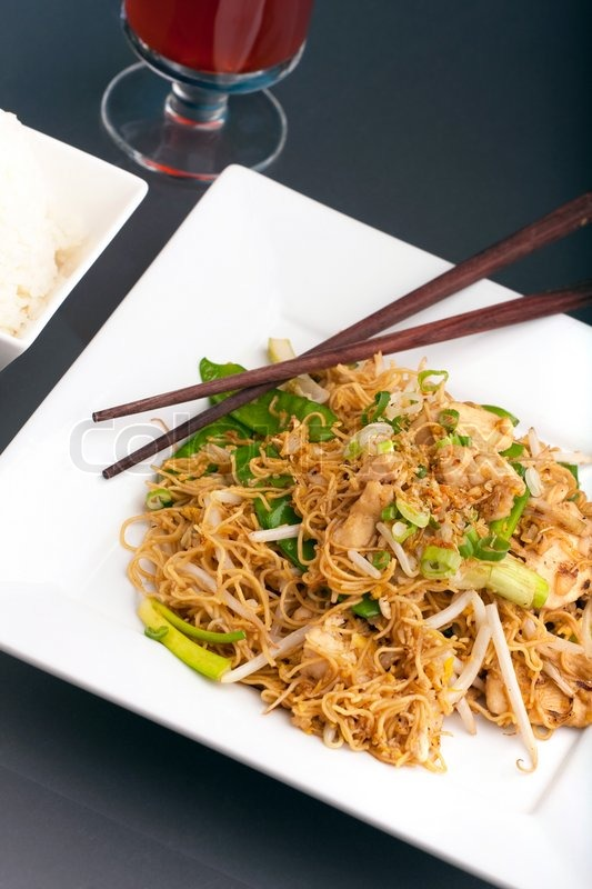 Rice Noodles With Bean Sprouts Rice And Bean Sprouts on a