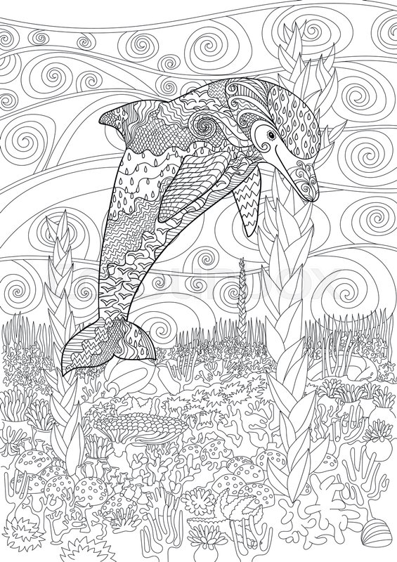 adult antistress coloring page black white doodle with underwater oceanic animal for art therapy underwater seascape for relax coloring - Art Therapy Coloring Pages Animals