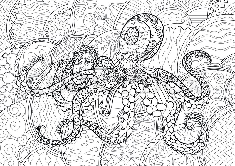Octopus with high details. Adult antistress coloring page. Black ...