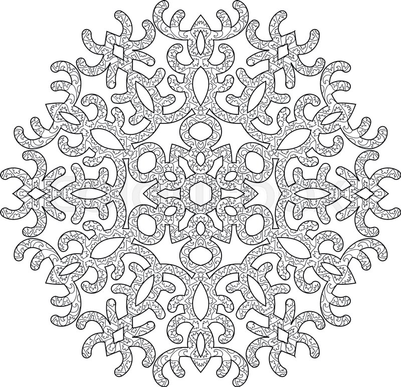 hand drawn antistress snowflake tracery template in zentangle style winter coloring pages for. Black Bedroom Furniture Sets. Home Design Ideas