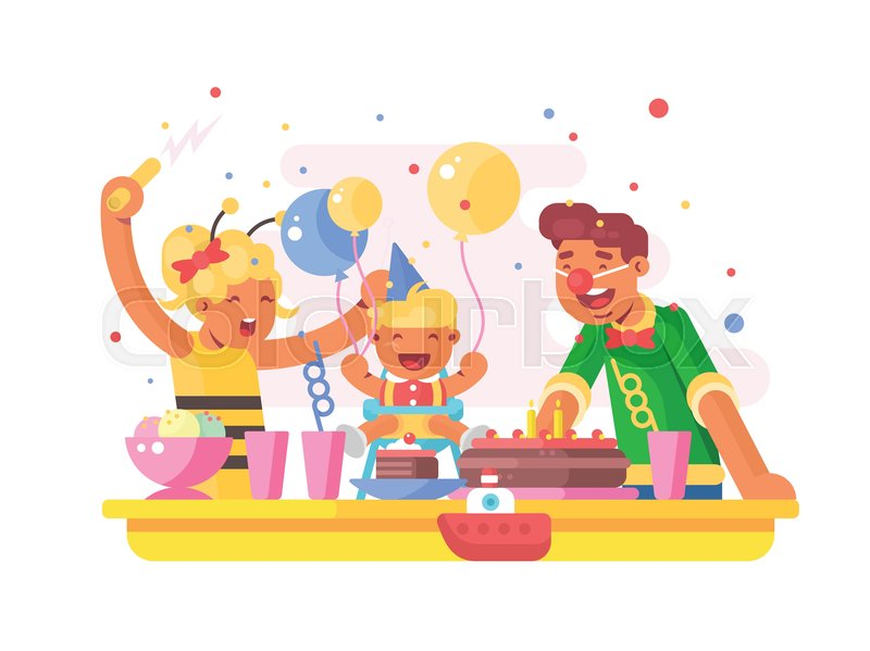 Children Birthday Party Dad Mom And Son With Cake Vector Illustration